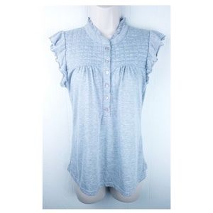 Charlotte Russe Medium Grey Ruffle Button Up